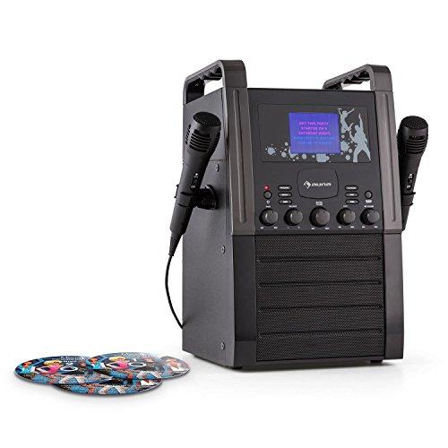 auna KA8B-V2 BK Karaokeanlage CD-Player Kinder Karaoke Anlage Karaoke-Maschine inkl. 2X Mikrofon & 3X Karaoke-CD+G (AUX, TFT Farbdisplay 3,5