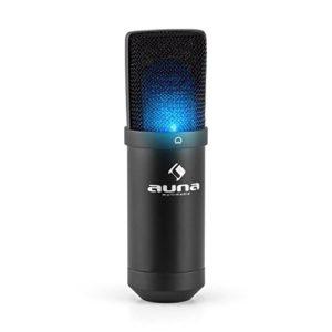 Auna MIC-900B-USB Kondensator Mikrofon für Studio-Aufnahmen inkl. Spinne mit blauer LED-Beleuchtung (16mm Kapsel, Nierencharakteristik, 320Hz - 18KHz, Plug & Play) schwarz - 2