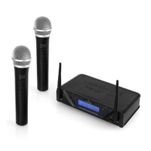 Malone UHF-450 Duo1 2-Kanal UHF-Funkmikrofon-Set (2 dynamische Handmikrofone, inkl. Transportkoffer, XLR- und den 6,3mm-Klinke-Ausgänge) schwarz - 1