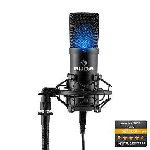 Auna MIC-900B-USB Kondensator Mikrofon für Studio-Aufnahmen inkl. Spinne mit blauer LED-Beleuchtung (16mm Kapsel, Nierencharakteristik, 320Hz – 18KHz, Plug & Play) schwarz