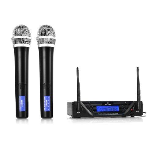 Malone UHF-450 Duo1 2-Kanal UHF-Funkmikrofon-Set (2 dynamische Handmikrofone, inkl. Transportkoffer, XLR- und den 6,3mm-Klinke-Ausgänge) schwarz