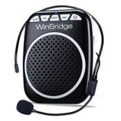 WinBridge WB001 Ultraleicht Stimmverstärker Tragbarer Sprachverstärker mit Mikrofon unterstützt das MP3 Audioformat für Reiseführer, Lehrer, Trainer, Vorträge, Kostüme, Usw.-Schwarz - 1
