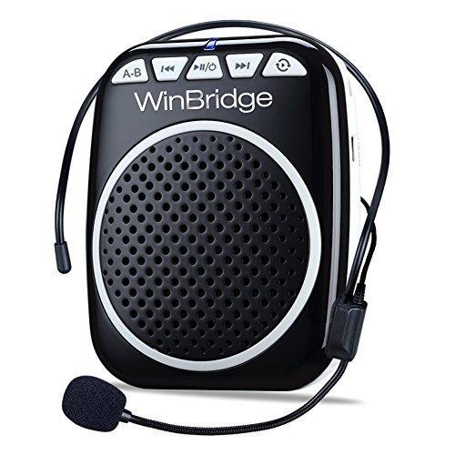 WinBridge WB001 Ultraleicht Stimmverstärker Tragbarer Sprachverstärker mit Mikrofon unterstützt das MP3 Audioformat für Reiseführer, Lehrer, Trainer, Vorträge, Kostüme, Usw.-Schwarz
