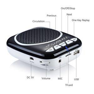 WinBridge WB001 Ultraleicht Stimmverstärker Tragbarer Sprachverstärker mit Mikrofon unterstützt das MP3 Audioformat für Reiseführer, Lehrer, Trainer, Vorträge, Kostüme, Usw.-Schwarz - 2