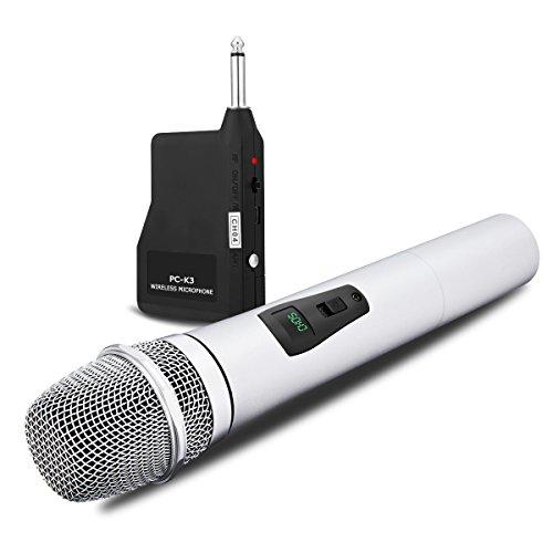 VHF Funkmikrofon mit Empfänger NASUM kompatibel mit Smartphones oder anderen Geräten wie Kameras Handmikrofon für Konferenz,PA Lautspreche,Verstärker,DJ,Party,Kirche,Hochzeit Metal (Silber)