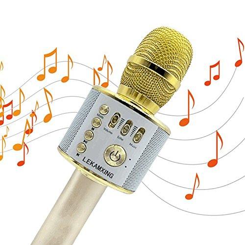 Bluetooth Karaoke Mikrofon ,Portable Handmikrofon Lautsprecher Player Kabellos Mikrofon – Stereo Player für Musik spielen KTV,Party , als Lautsprecher für PC, Laptop, iPhone, iPod, iPad, und Android/IOS oder Alle Smartphone